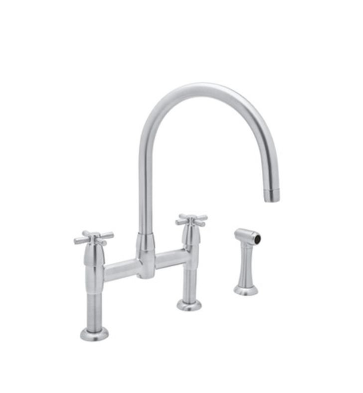 Rohl U-4272 Contemporary Bridge Kitchen Faucet With Sidespray