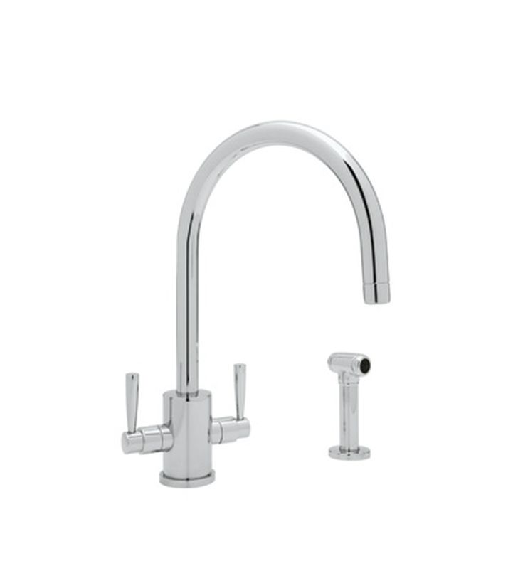 "Rohl U-4312 Single Hole ""C"" Spout Kitchen Faucet With Sidespray"