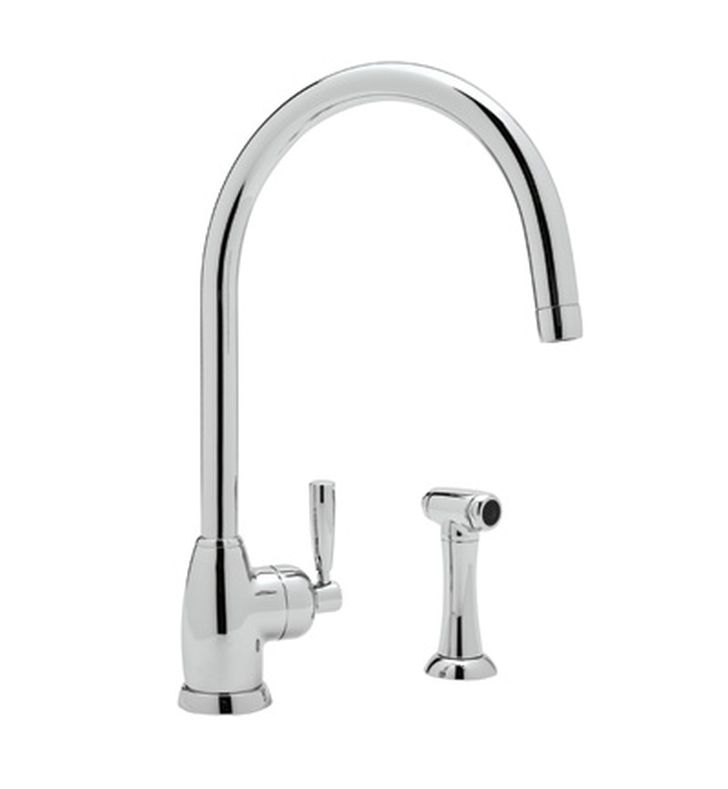 "Rohl U-4846 Contemporary Single Hole Kitchen Faucet With ""C"" Spout And Sidespray"