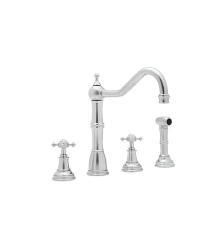 Rohl U-4775 4–Hole Kitchen Faucet Wtih Sidespray