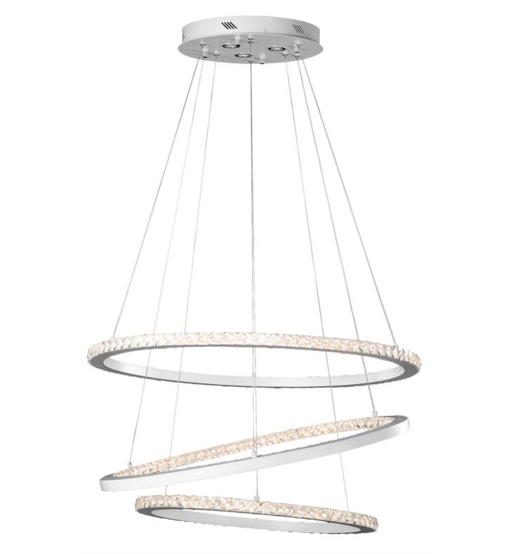 "Elan Lighting 83425 Allos 6 Light 35 1/2"" Warm White LED Crystal Chandelier in Flat White Finish"