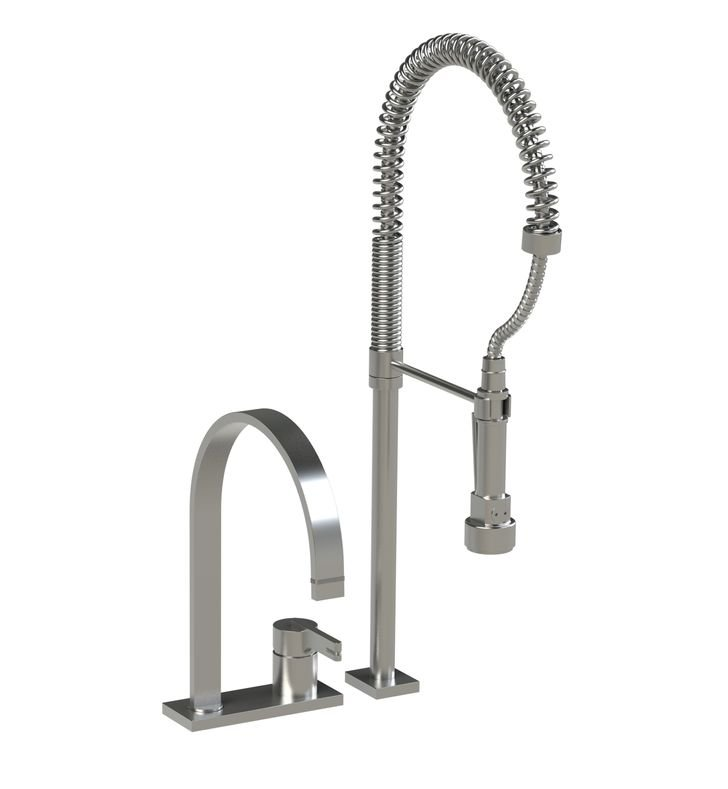 Rubinet 8IRTLSNRD R10 Single Control Kitchen Faucet with Suspended Industrial Spray With Finish: Main Finish: Satin Nickel | Accent Finish: Red