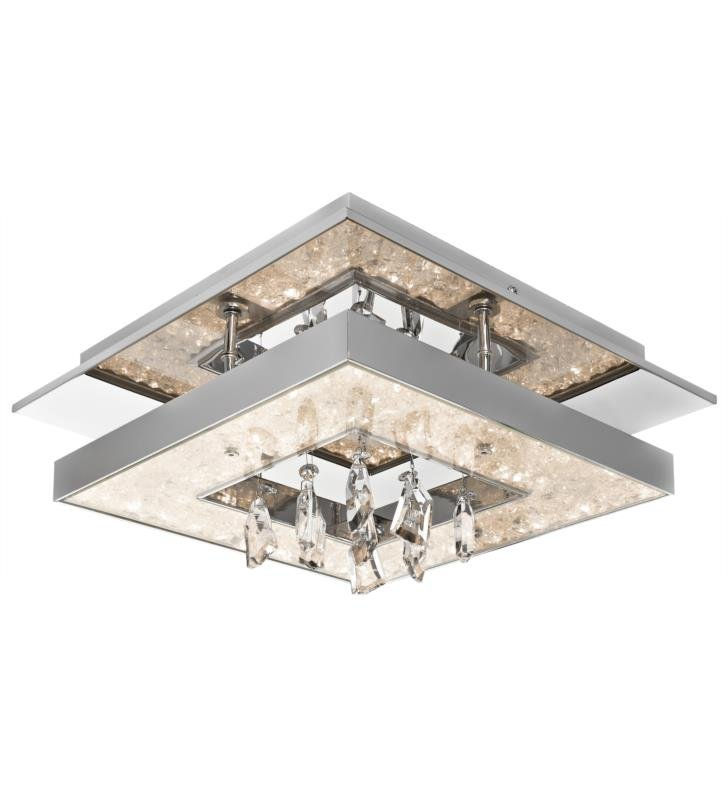 "Elan Lighting 83411 Crushed Ice 1 Light 13 3/4"" Cool White LED Flush Mount Ceiling Light in Chrome Finish"