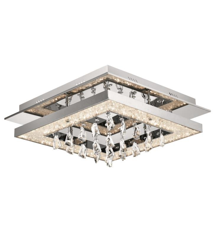 "Elan Lighting 83430 Crushed Ice 1 Light 19 3/4"" Warm White LED Flush Mount Ceiling Light in Chrome Finish"