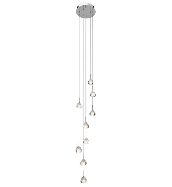 "Elan Lighting 83048 Eisa 9 Light 13"" Halogen Spiral Mini Pendant in Chrome Finish"