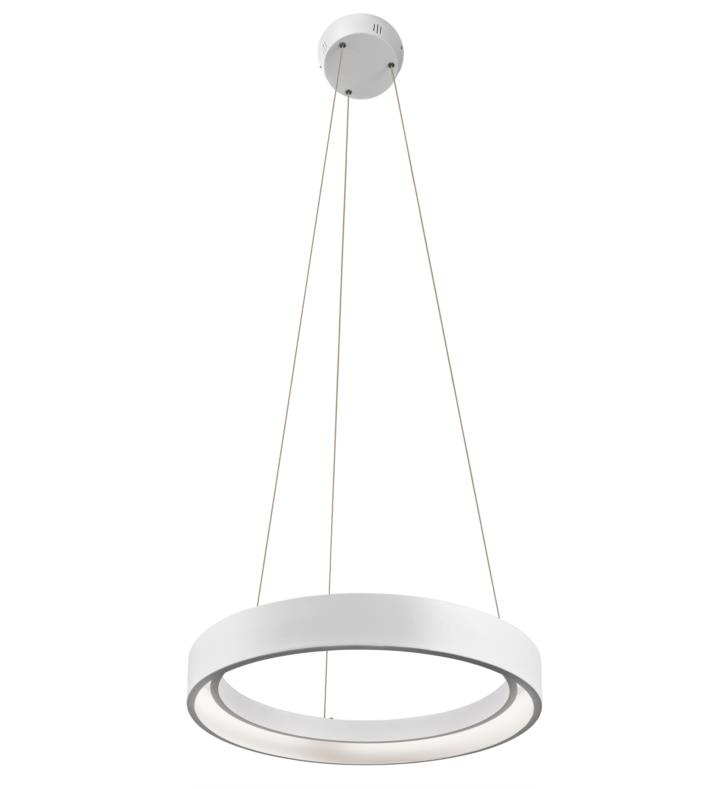"Elan Lighting 83452 Fornello 1 Light 17 3/4"" LED Ring Pendant in Sand Textured White Finish"