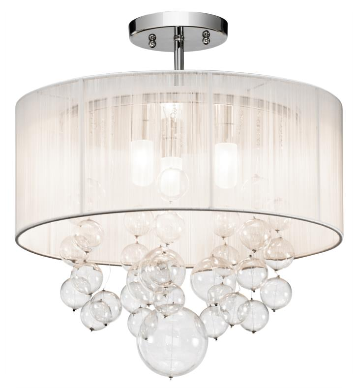 "Elan Lighting 83227 Imbuia 3 Light 16"" Halogen Semi-Flush Mount Ceiling Light in Chrome Finish"