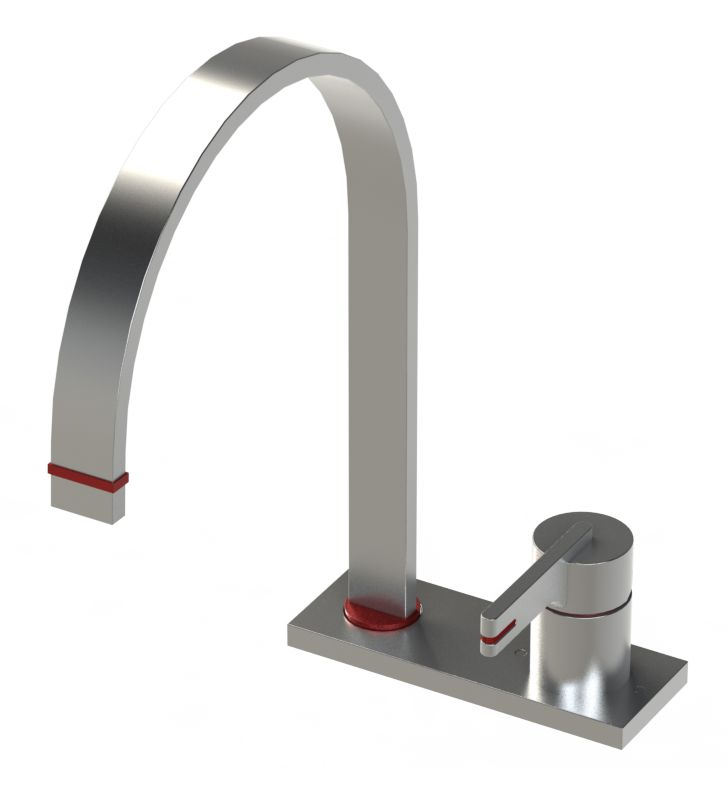 Rubinet 8GRTLSNSN R10 Single Control Kitchen Faucet With Finish: Main Finish: Satin Nickel | Accent Finish: Satin Nickel