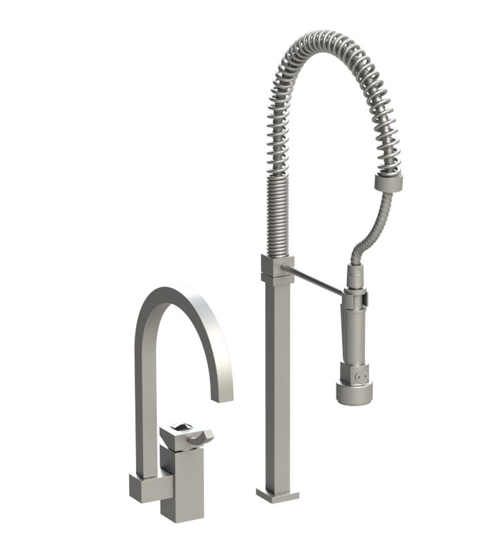 Rubinet 8IICLSNSN Ice Single Control Kitchen Faucet with Suspended Industrial Spray With Finish: Main Finish: Satin Nickel | Accent Finish: Satin Nickel