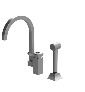 Rubinet 8LICLMWMWJT Ice Single Control Kitchen Faucet with Hand Spray With Finish: Main Finish: Matt White | Accent Finish: Matt White And Crystal Accent: Black Crystal Accent