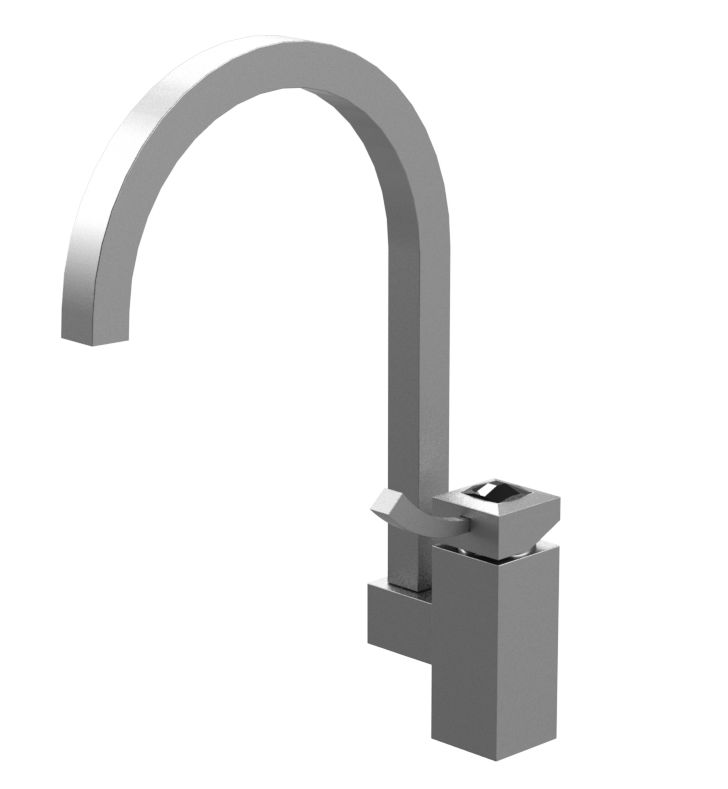 Rubinet 8MICLMBMBCL Ice Single Control Kitchen Faucet With Finish: Main Finish: Matt Black | Accent Finish: Matt Black And Crystal Accent: Clear Crystal Accent