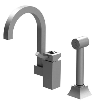 Rubinet 8NICLPNPNCL Ice Single Control Bar Faucet with Hand Spray With Finish: Main Finish: Polished Nickel | Accent Finish: Polished Nickel And Crystal Accent: Clear Crystal Accent