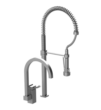 Rubinet 8IMQ1MBMB Matthew Quinn Single Control Kitchen Faucet with Suspended Industrial Spray With Finish: Main Finish: Matt Black | Accent Finish: Matt Black