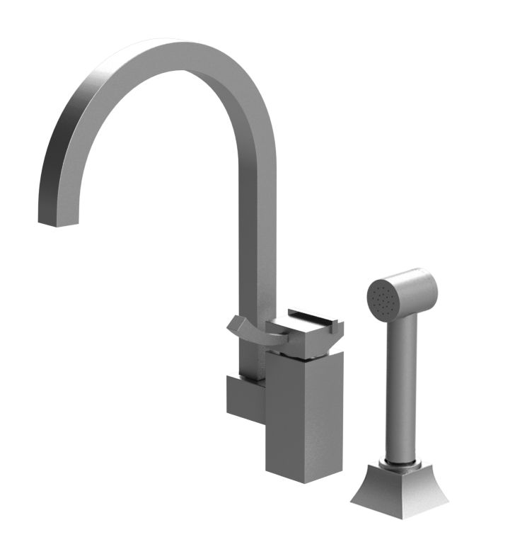 Rubinet 8LMQ1SNRD Matthew Quinn Single Control Kitchen Faucet with Hand Spray With Finish: Main Finish: Satin Nickel | Accent Finish: Red