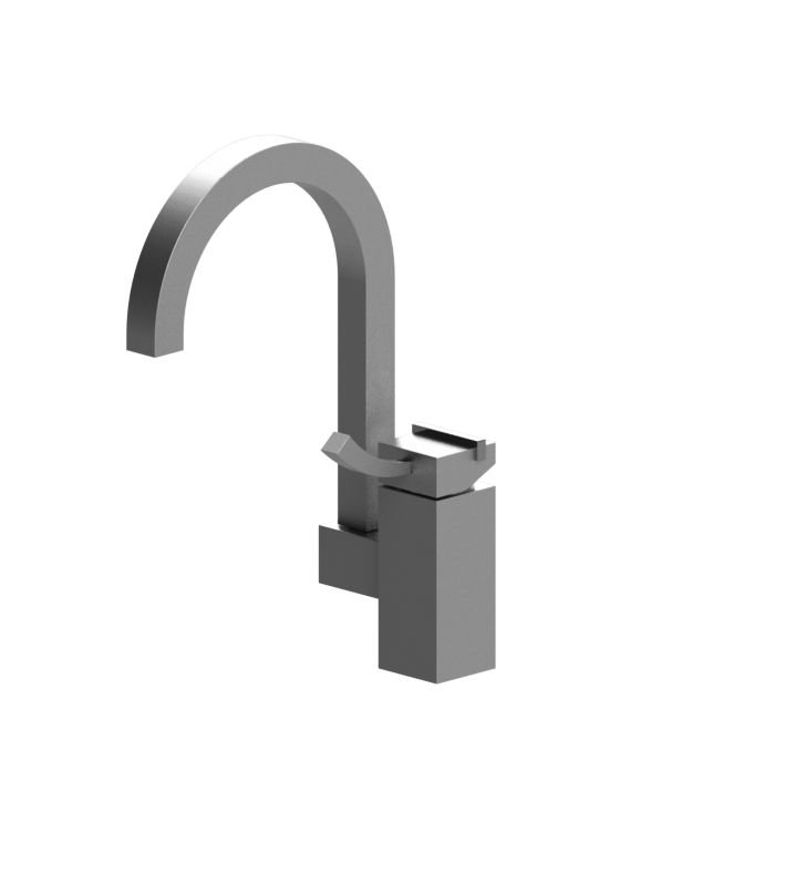 Rubinet 8OMQ1SNRD Matthew Quinn Single Control Bar Faucet With Finish: Main Finish: Satin Nickel | Accent Finish: Red