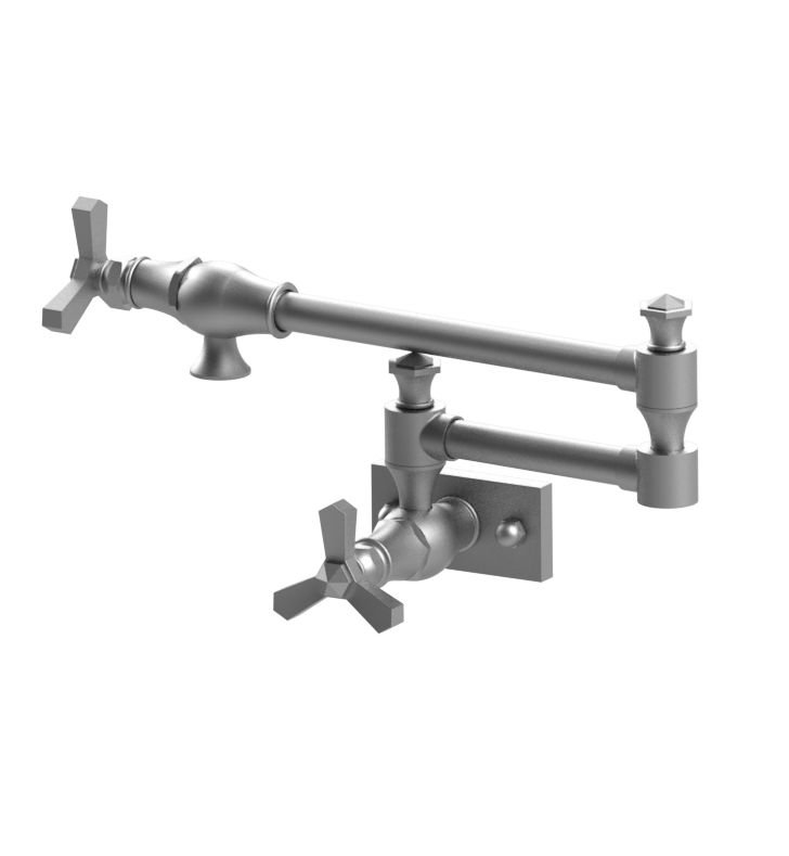 Rubinet 8EHXCSNSN Hexis Wall Mount Pot Filler With Finish: Main Finish: Satin Nickel | Accent Finish: Satin Nickel