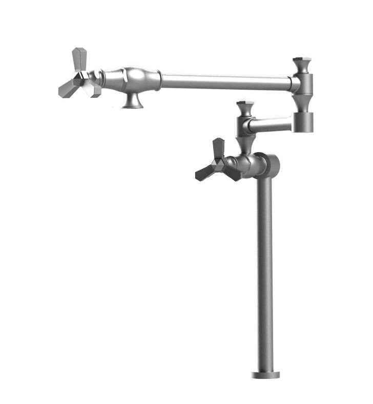 Rubinet 8HHXCSCSC Hexis Deck Mount Pot Filler With Finish: Main Finish: Satin Chrome | Accent Finish: Satin Chrome