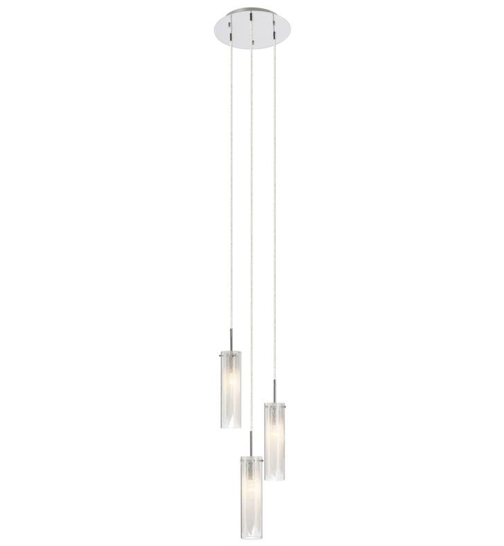 "Elan Lighting 83066 Krysalis 3 Light 11"" Incandescent Mini Pendant Chandelier in Chrome Finish"