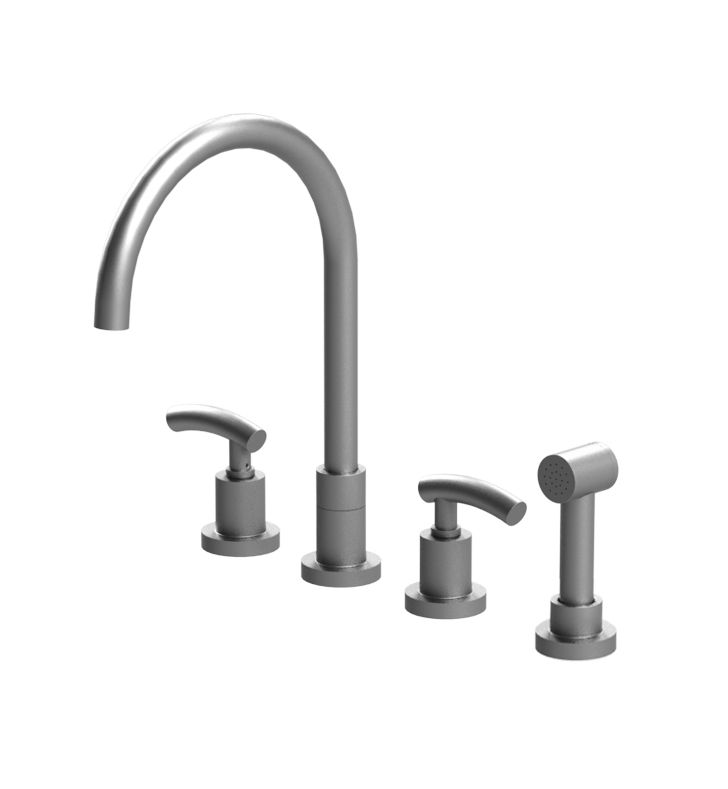 Rubinet 8BHOLCHCH H2O Widespread Kitchen Faucet with Hand Spray With Finish: Main Finish: Chrome | Accent Finish: Chrome
