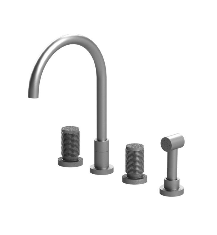 Rubinet 8BHORMBMB H2O Widespread Kitchen Faucet with Hand Spray With Finish: Main Finish: Matt Black | Accent Finish: Matt Black