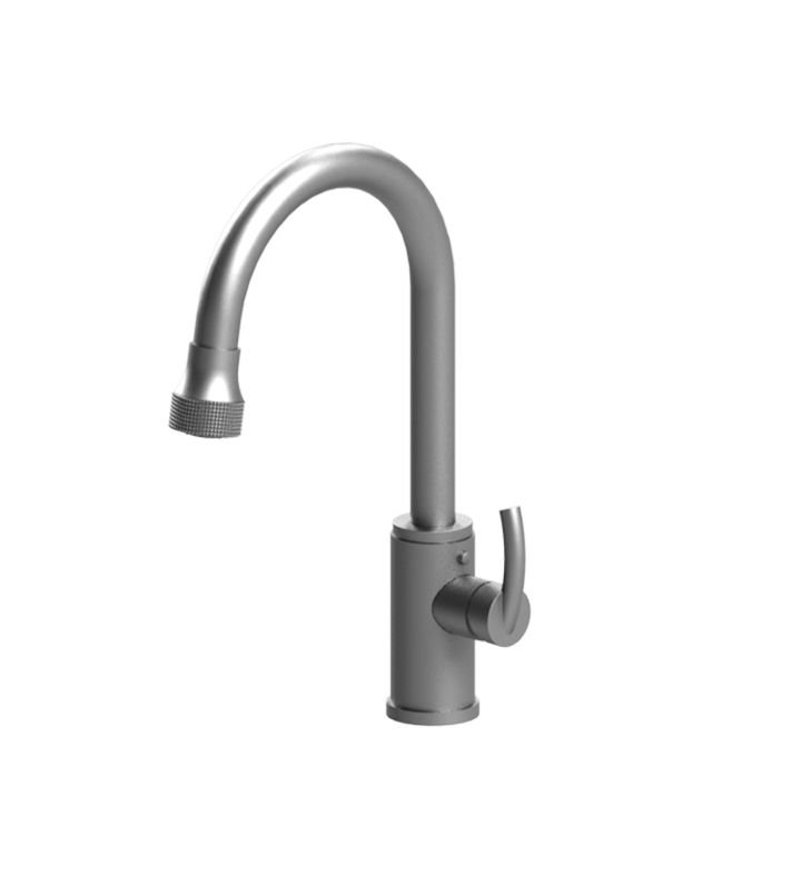 Rubinet 8JHOLNCNC H2O Single Hole Single Control Kitchen Faucet with Retractable Dual Function Spray With Finish: Main Finish: Natural Cream | Accent Finish: Natural Cream
