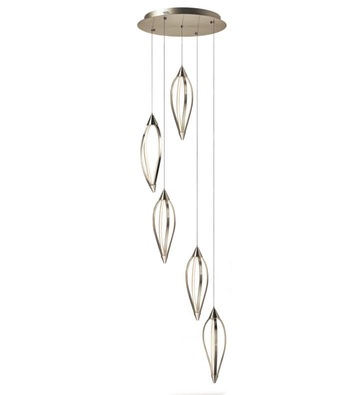 "Elan Lighting 83394 Meridian 5 Light 21 3/4"" LED Pendant Cluster in Brushed Nickel Finish"