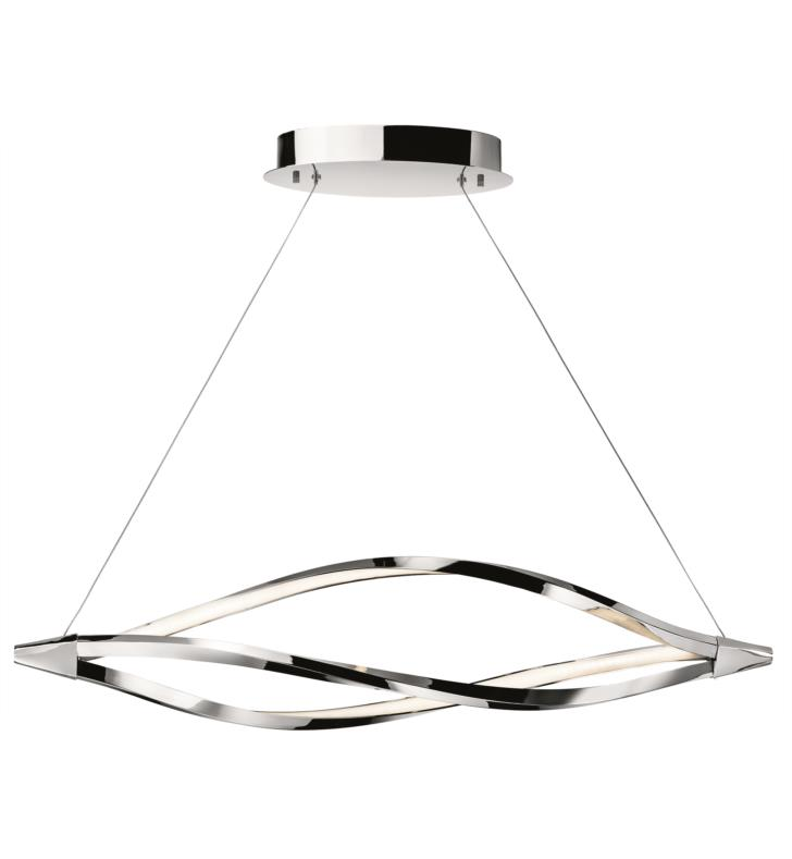 "Elan Lighting 83386 Meridian 1 Light 43 1/4"" LED Linear Pendant in Chrome Finish"