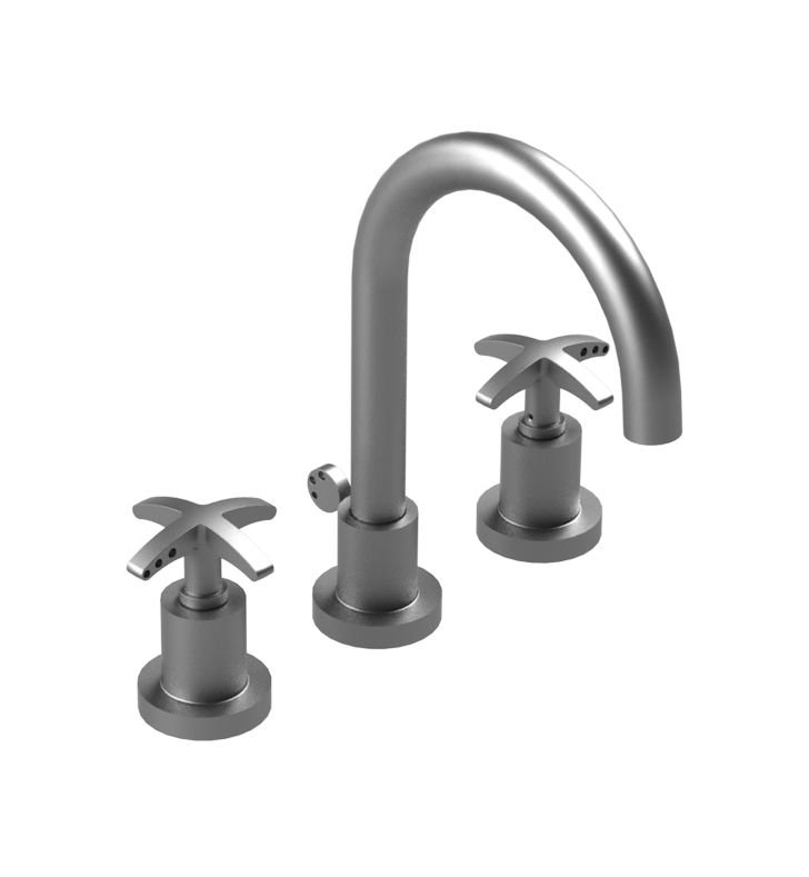 Rubinet 8ALACSCSC LaSalle Widespread Kitchen Faucet With Finish: Main Finish: Satin Chrome | Accent Finish: Satin Chrome