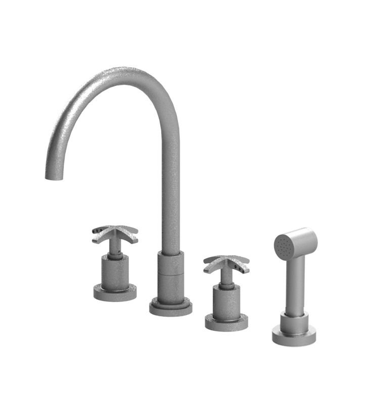 Rubinet 8BLACMBMB LaSalle Widespread Kitchen Faucet with Hand Spray With Finish: Main Finish: Matt Black | Accent Finish: Matt Black