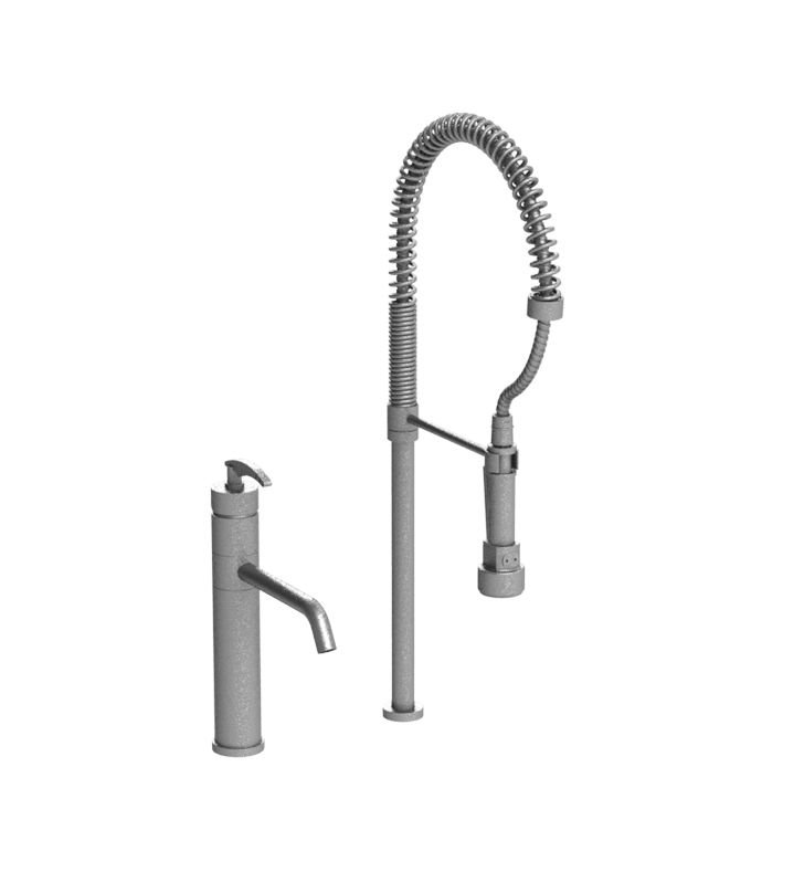 Rubinet 8ILALSBSB LaSalle Single Control Kitchen Faucet with Suspended Industrial Spray With Finish: Main Finish: Satin Brass | Accent Finish: Satin Brass