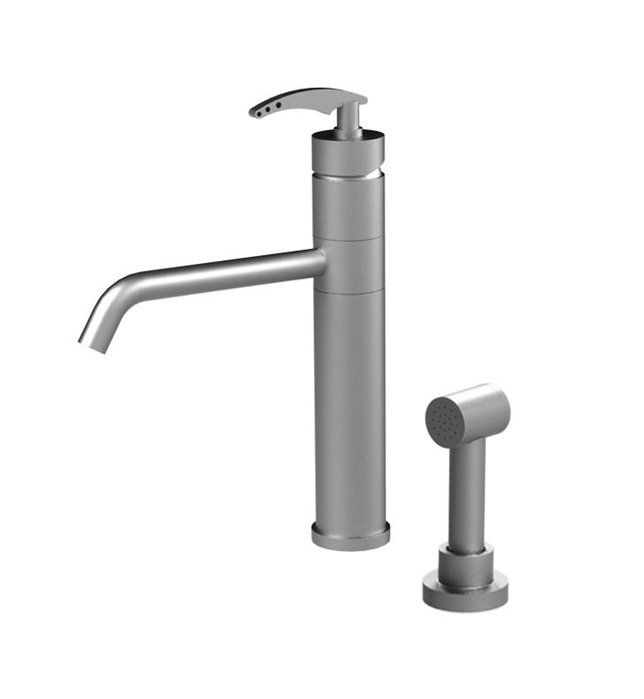 Rubinet 8LLALBKBK LaSalle Single Control Kitchen Faucet with Hand Spray With Finish: Main Finish: Black | Accent Finish: Black