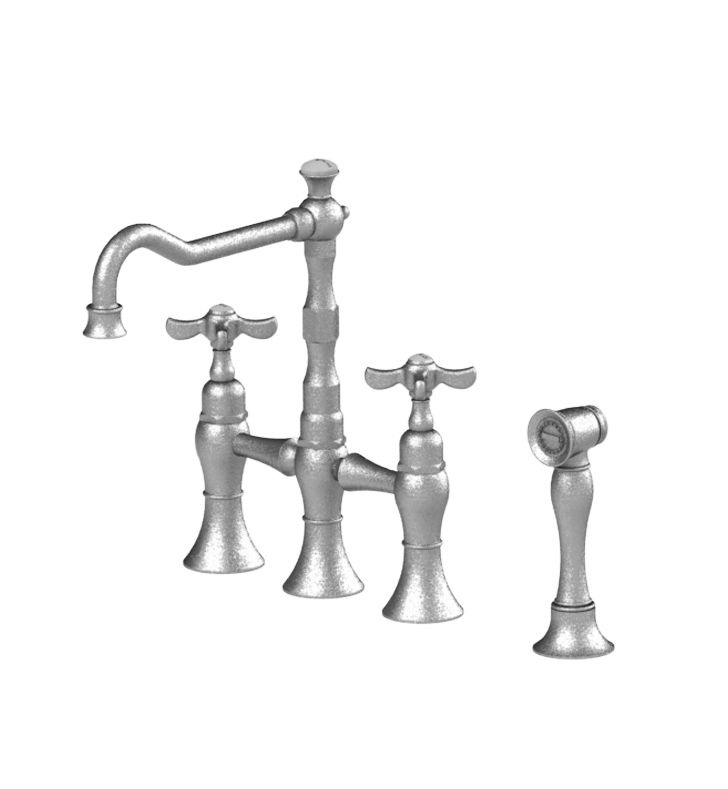 Rubinet 8URVCSNSN Raven Kitchen Bridge Faucet with Hand Spray With Finish: Main Finish: Satin Nickel | Accent Finish: Satin Nickel