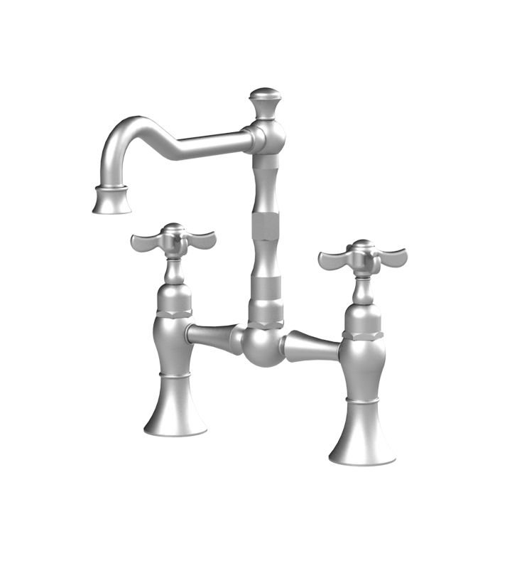 Rubinet 8VRVCSCNC Raven Kitchen Bridge Faucet With Finish: Main Finish: Satin Chrome | Accent Finish: Natural Cream