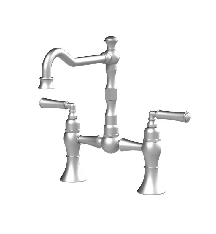 Rubinet 8VRVLCHNC Raven Kitchen Bridge Faucet With Finish: Main Finish: Chrome | Accent Finish: Natural Cream