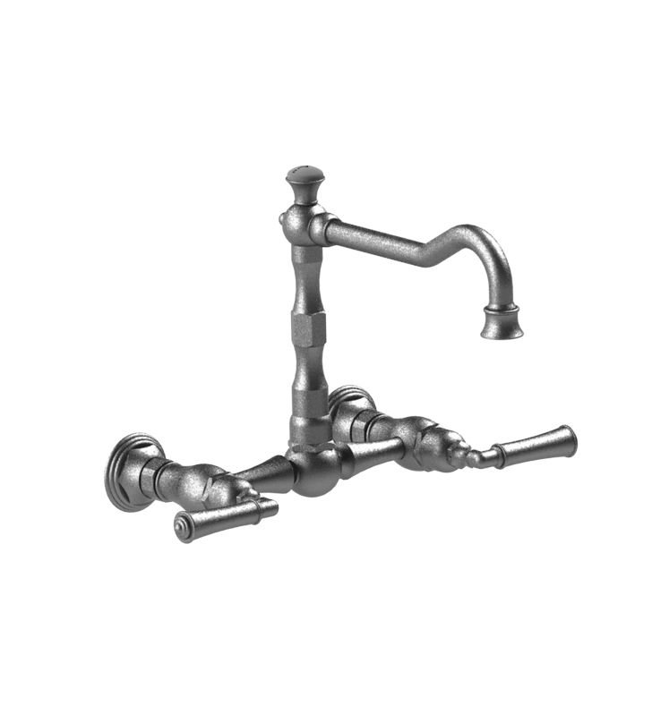 Rubinet 8WRVLBBNC Raven Wall Mount Kitchen Bridge Faucet With Finish: Main Finish: Bright Brass | Accent Finish: Natural Cream