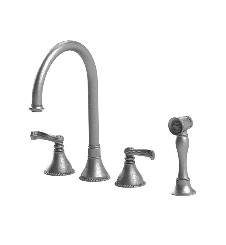Rubinet 8BETLCHGD Etruscan Widespread Kitchen Faucet with Hand Spray With Finish: Main Finish: Chrome | Accent Finish: Gold