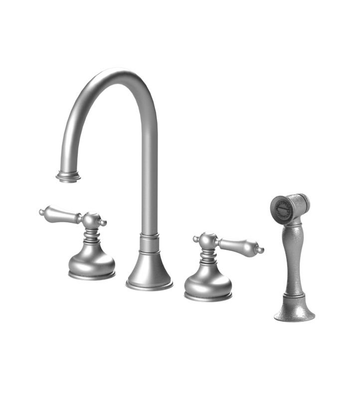 Rubinet 8BRMLSNWH Romanesque Widespread Kitchen Faucet with Hand Spray With Finish: Main Finish: Satin Nickel | Accent Finish: White
