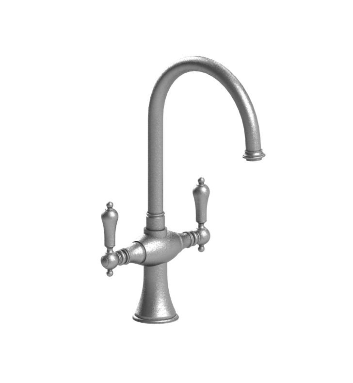 Rubinet 8DRMLSNGD Romanesque Dual Handle Kitchen Faucet With Finish: Main Finish: Satin Nickel | Accent Finish: Gold