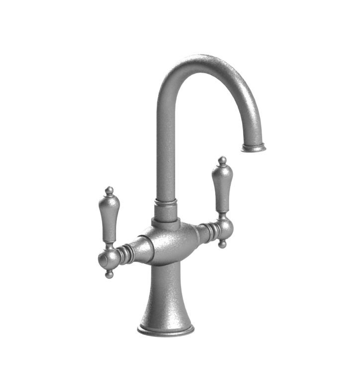Rubinet 8PRMLSNWH Romanesque Dual Handle Bar Faucet With Finish: Main Finish: Satin Nickel | Accent Finish: White