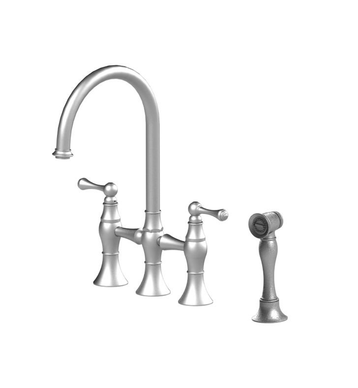 Rubinet 8UFMLSNSN Flemish Kitchen Bridge Faucet with Hand Spray With Finish: Main Finish: Satin Nickel | Accent Finish: Satin Nickel