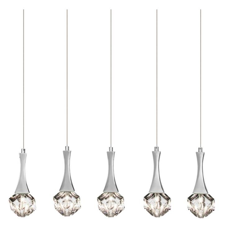 "Elan Lighting 83132 Rockne 5 Light 35 3/4"" Halogen Mini Pendant Chandelier in Chrome Finish"