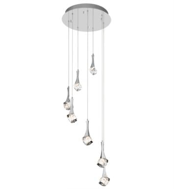"Elan Lighting 83134 Rockne 7 Light 17 3/4"" Halogen Spiral Mini Pendant Chandelier in Chrome Finish"