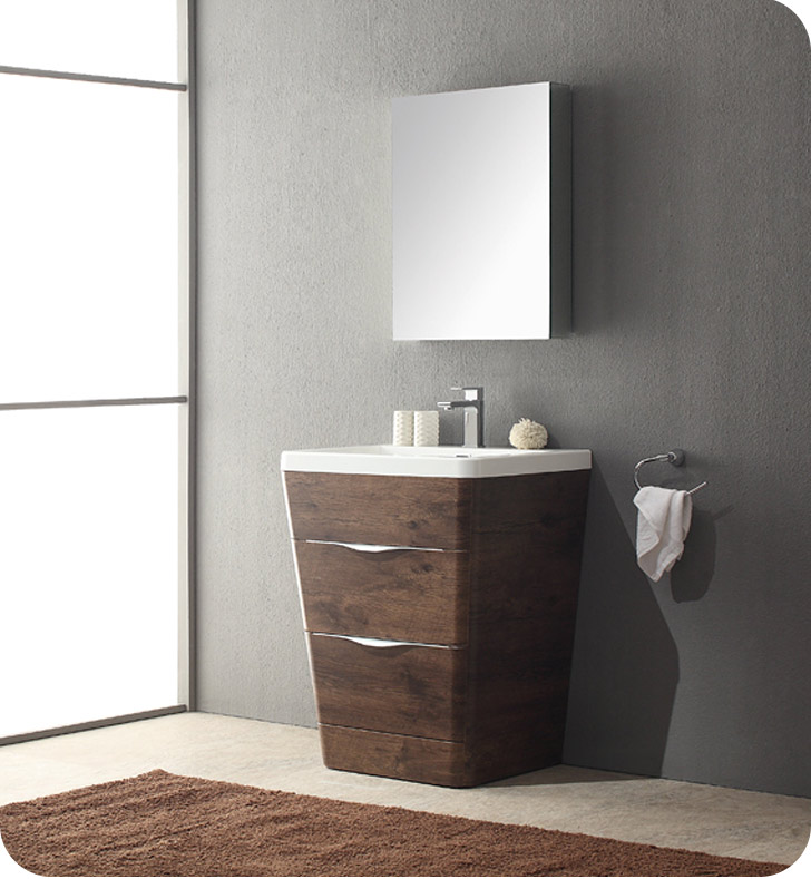 Fresca Fvn8525rw Milano 26 Modern Bathroom Vanity In A Rosewood Finish With Medicine Cabinet And Faucet