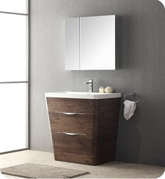 "Fresca FVN8532RW Milano 32"" Modern Bathroom Vanity in a Rosewood Finish with Medicine Cabinet and Faucet"