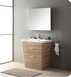 "Fresca FVN8532WK Milano 32"" Modern Bathroom Vanity in a White Oak Finish with Medicine Cabinet and Faucet"