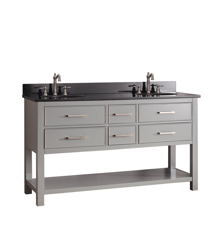 "Avanity BROOKS-V60-CG Brooks 60"" Double Sink Bathroom Vanity in Chilled Gray finish"