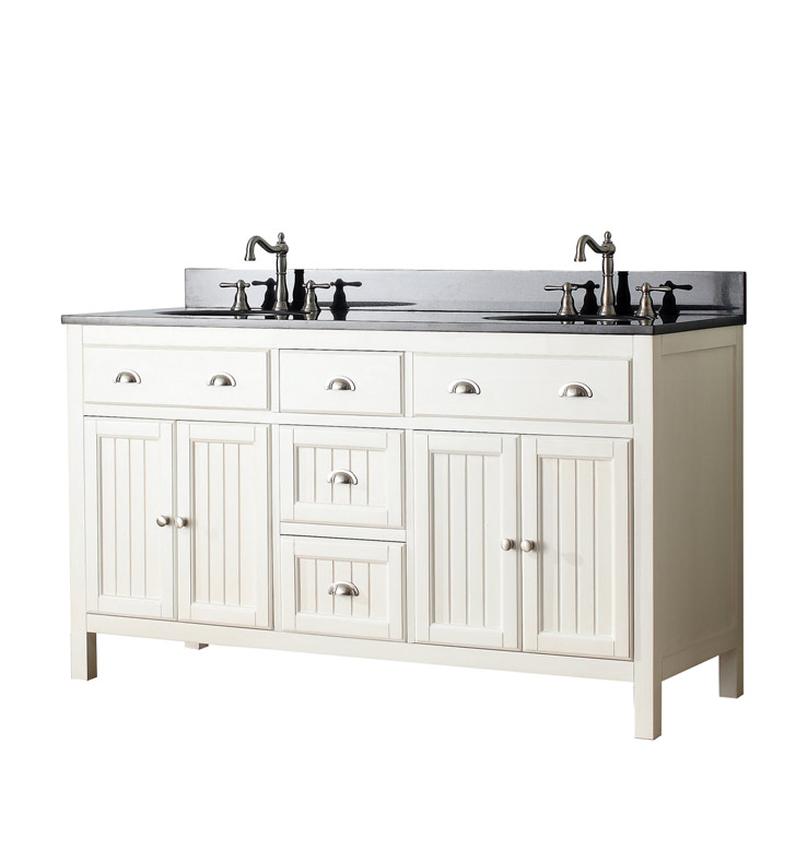 "Avanity HAMILTON-V60-FW Hamilton 60"" Double Sink Bathroom Vanity in French White finish With Countertop: Avanity SUT61CW 61"" Marble Stone Vanity Top for Undermount Oval Sink in Carrera White"