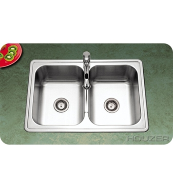 Houzer PGD-3322-1 Topmount Double Bowl 50/50 Kitchen Sink