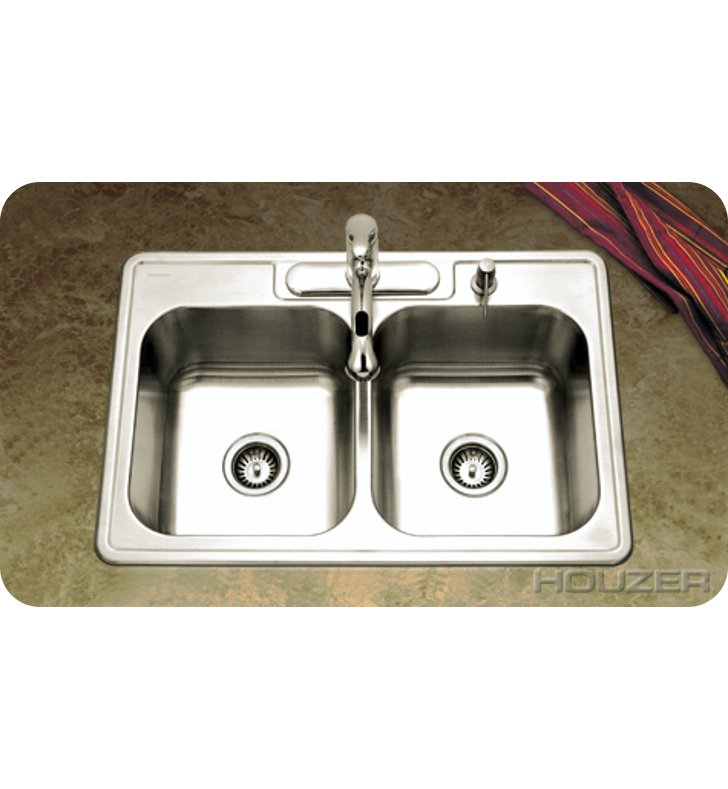 Houzer 3322-8BS3-1 Self Rimming 3 Hole Double Basin Kitchen Sink