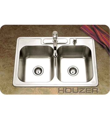 Houzer 3322-9BS3-1 Self Rimming 3 Hole Double Basin Kitchen Sink
